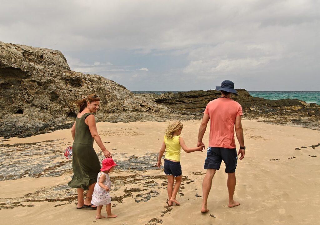 family, beach, fun