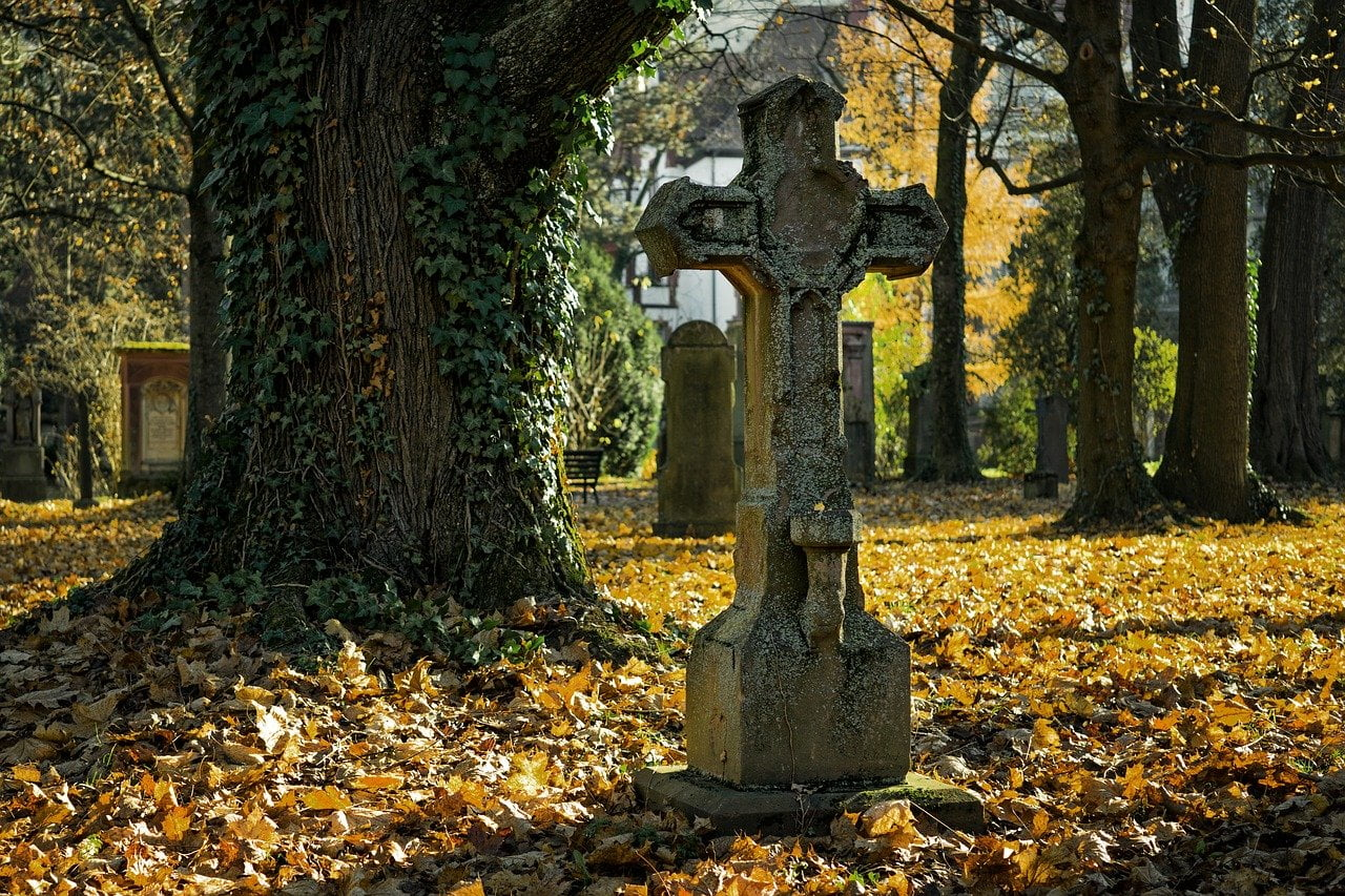 autumn, cemetery, cross
